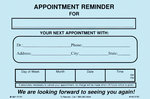 "APPOINTMENT REMINDER - PACK OF 50, 4"" X 6"" Use this card to remind patients of their commitment."
